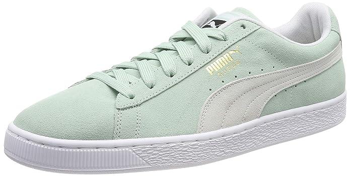 Puma Suede Classic Sneaker Damen Herren Unisex Wildleder Grün mit weißem Streifen (Fair Aqua)