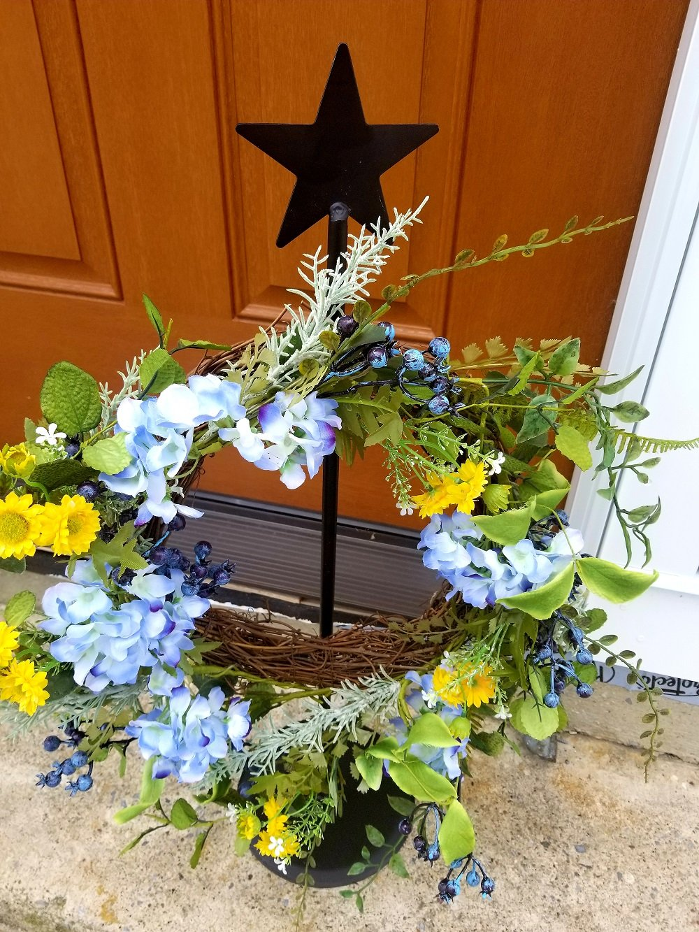 Wrought Iron Standing Wreath Hanger With Star - Hand Made By Amish Of Lancaster County PA. - Wreath Not Included by Hand Crafted & American Made!