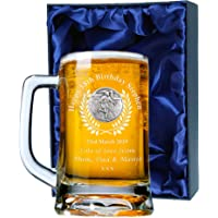 De Walden Mens 18th Birthday Gift, Engraved 18th Birthday Pint Glass Tankard with Solid Pewter Rugby Player Feature, In a Satin Lined Presentation Box, Men's Birthday Gifts