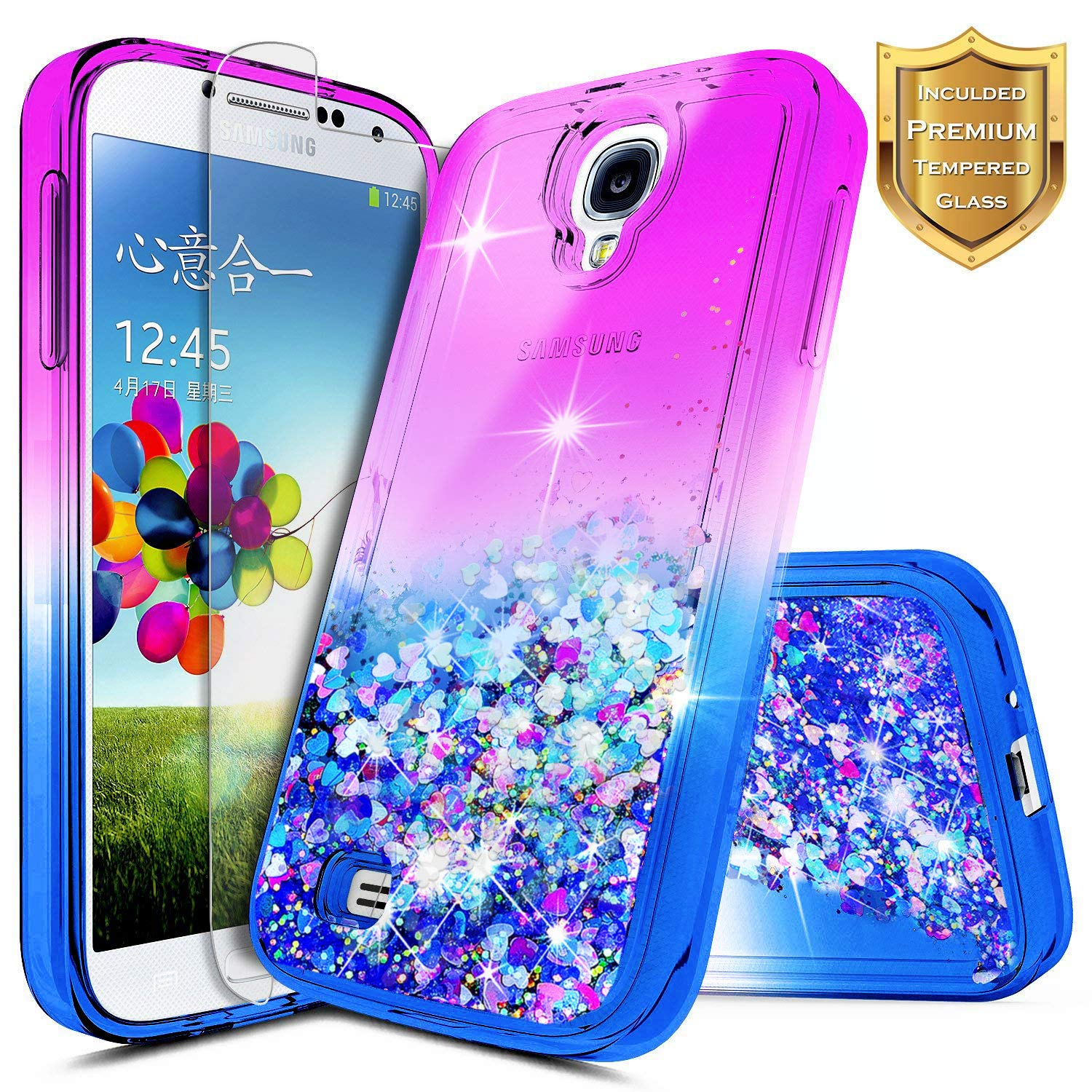 Galaxy S4 Case with Tempered Glass Screen Protector for Girls Women Kids, NageBee Glitter Liquid Bling Floating Waterfall Diamond Shockproof Durable ...
