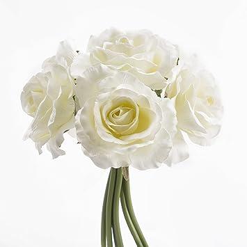 Artplants Bouquet De 6 Roses Blanches Artificielles 20 Cm