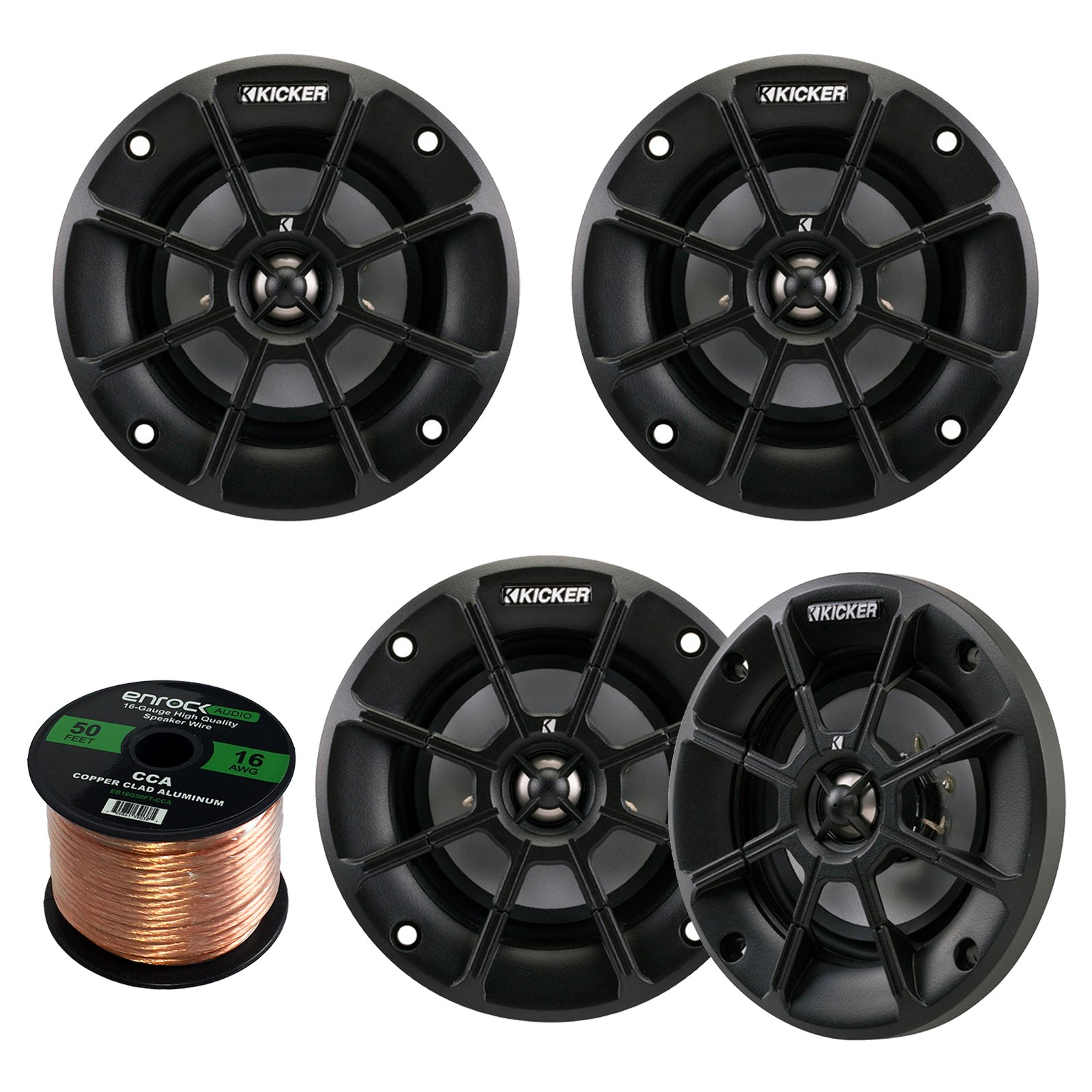 4 X Kicker 40PS42 4'' Inch Weather-Proof Powersports Vehicles 2-Way 2-Ohm Coaxial ATV, Motorcycle, Marine, Boat, Speakers (2 Pair) Bundle With Enrock 16g 50 Feet Speaker Wire by Enrock Kicker