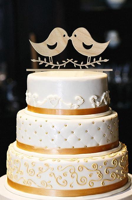 Amazon.com: Love Birds Cake Topper, Wedding Cake Topper, Engagement ...