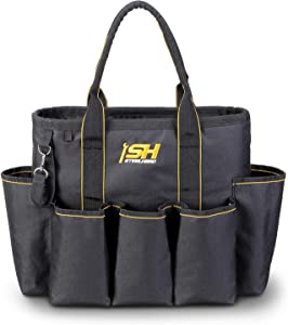 STEELHEAD 14-Inch Open Top Tool Tote Organizer, Heavy-Duty Reinforced Bottom, 16 Pockets, Water Resistant, Quick-Access Tool Attachment, Jobsite Ready: Plumbers, Contractors, HVAC