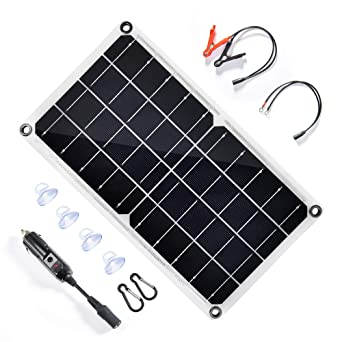 Topsolar 10 Watt 12 Volt Solar Panel Car Battery Charger 10w 12v Portable Solar Trickle Battery Maintainer With Cigarette Lighter Plug Alligator Clip For Car Boat Motorcycle Tractor Amazon Co Uk Business Industry