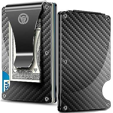 6afc90054090 Carbon Fiber Money Clip Wallet - Aluminum Credit Card Wallet RFID - Mens  Minimalist Slim Credit Card Holder - 2019 Upgraded Version