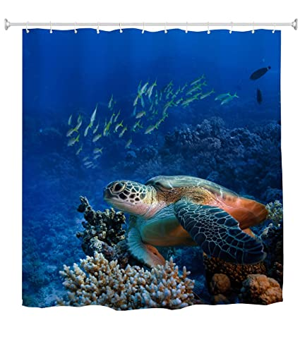 Turtle Shower Curtain Sea With Fishes And Coral Reef Underwater Ocean Set