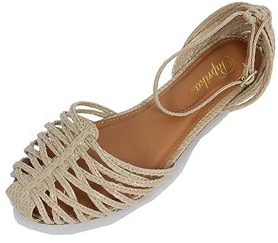 3fec7bb25813 Paprika Women s Trepa Snakeskin Strappy Ankle Strap Flat Sandals