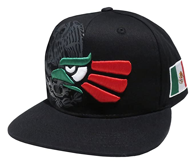 82720c67c33 Hecho En Mexico Mexican Eagle Embroidered Flatbill Snapback (Black GWR)