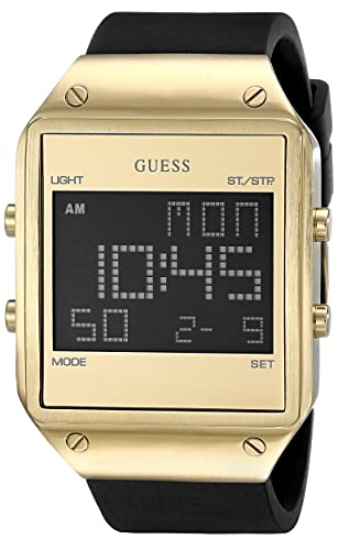 Guess Reloj de Cuarzo Digital Negro Banda de Silicona Caja de Metal para Hombre U0595G3: Amazon.es: Relojes