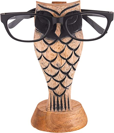 Eximious India Eyeglass Holder Stand for Desk Owl Design Eyeglasses Retainers for Men Women Wooden Bedside Display Home and Office Decor Desk Holder Glasses Gifts for Kids Him Her Mom Dad Walnut