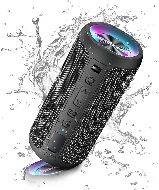 Ortizan Bluetooth Lautsprecher Mit Licht Tragbarer Bluetooth Box Mit Ipx7 Wasserschutz Dualen Bass Treibern 30h Akku Freisprechfunktion Bluetooth Kabelloser Lautsprecher Für Phone Outdoor Audio Hifi