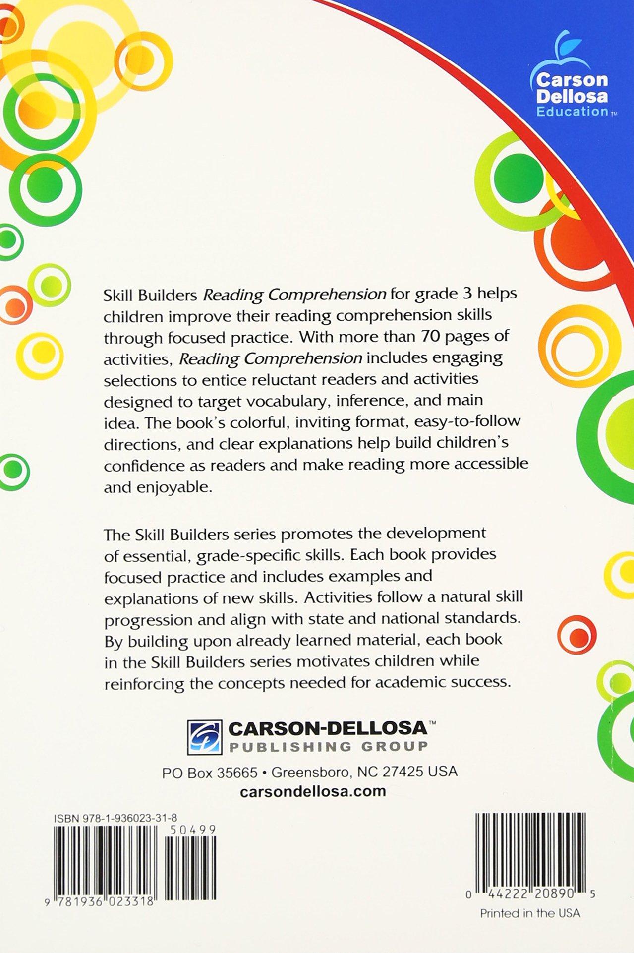 reading comprehension grade skill builders carson dellosa reading comprehension grade 3 skill builders carson dellosa publishing 0044222208905 com books