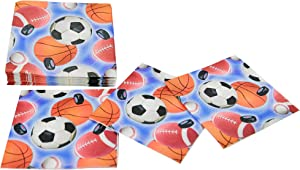 HOME-X Sports-Themed Paper Napkins, Square Disposable Party Napkins, 48 Count – 6.5