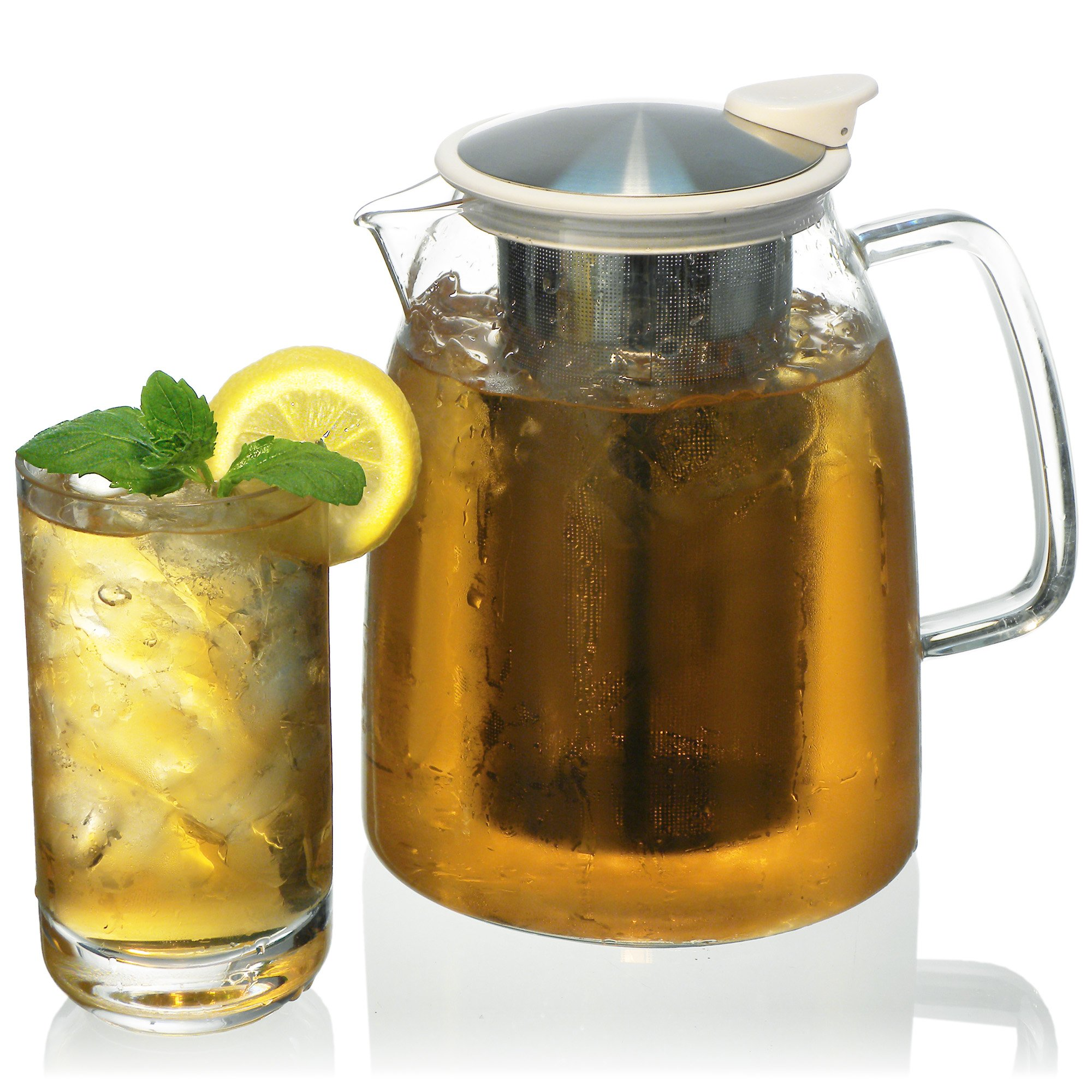 FORLIFE Mist Iced Tea Jug with Basket Infuser, 68-Ounce, White
