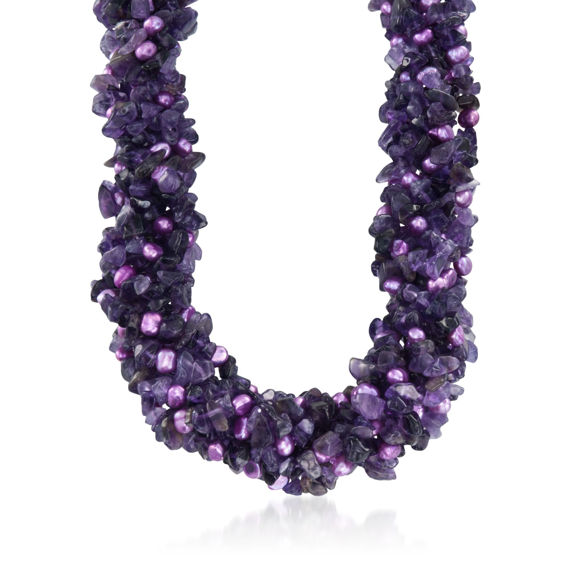 Ross-Simons Amethyst and Purple Cultured Pearl Torsade Necklace With Sterling Silver