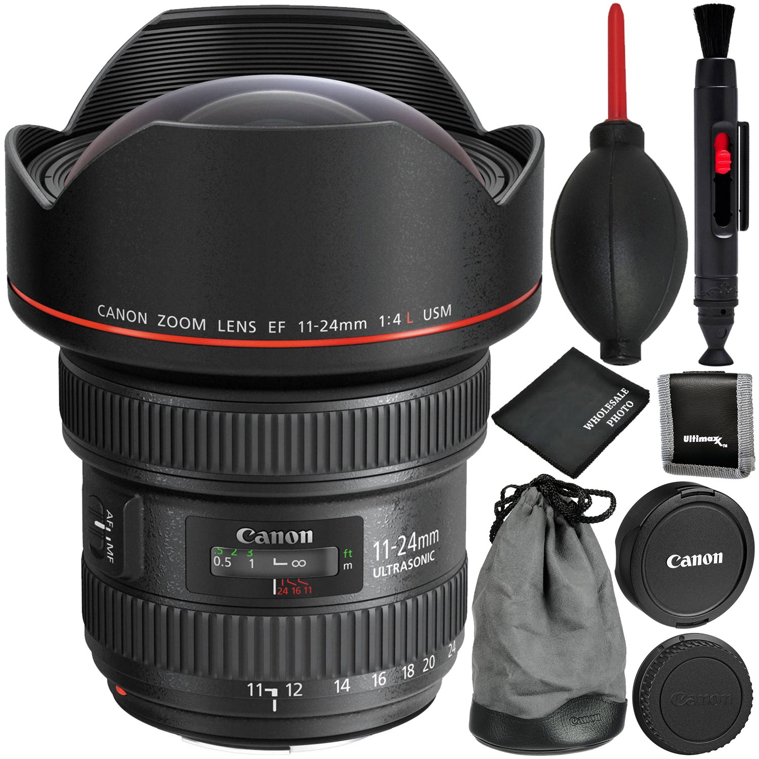 Canon EF 11-24mm f/4L USM Lens - 4PC Accessory Bundle Includes Memory Card Wallet + Dust Blower + Lens Cleaning Pen + Microfiber Cleaning Cloth