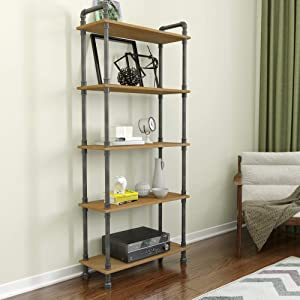 "Barnyard Designs Furniture 5-Tier Etagere Bookcase, Solid Pine Open Wood Shelves, Rustic Modern Industrial Metal and Wood Style Bookshelf, Natural, 70.5"" x 29.5"" x 11.75"""