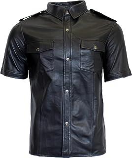 RICANO Mens Shirt SS, Herren Kurzarm-Lederhemd aus Echtem Lamm Nappa Leder  in Schwarz befbfe03b2