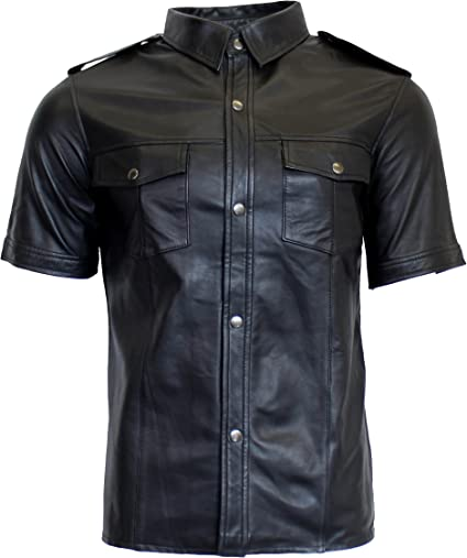 RICANO Mens Camiseta SS, Hombre Piel Camisa, Piel de napa (Negro) Negro X-Small: Amazon.es: Ropa y accesorios