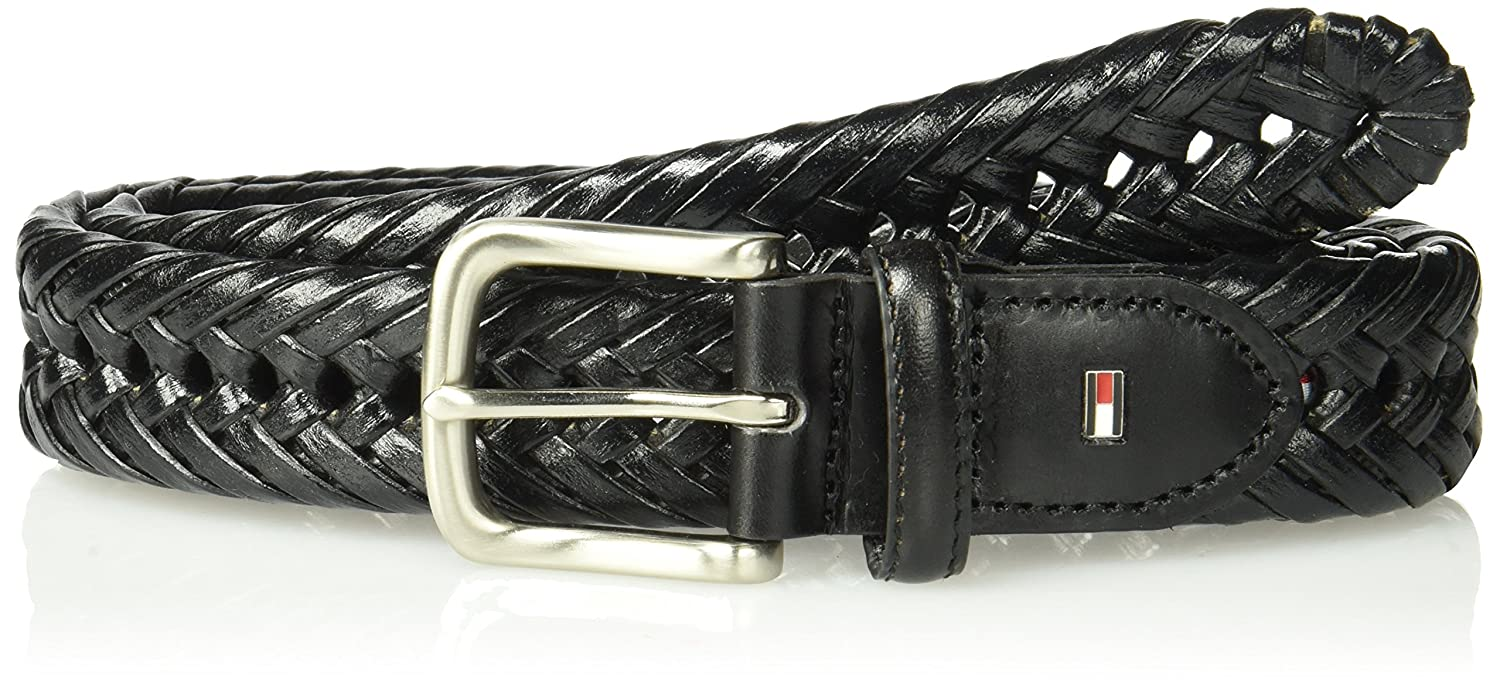 c15511a474c7ce Tommy Hilfiger Leather Braided Belt - Casual for Mens Jeans with Solid  Strap Single Prong Buckle at Amazon Men s Clothing store