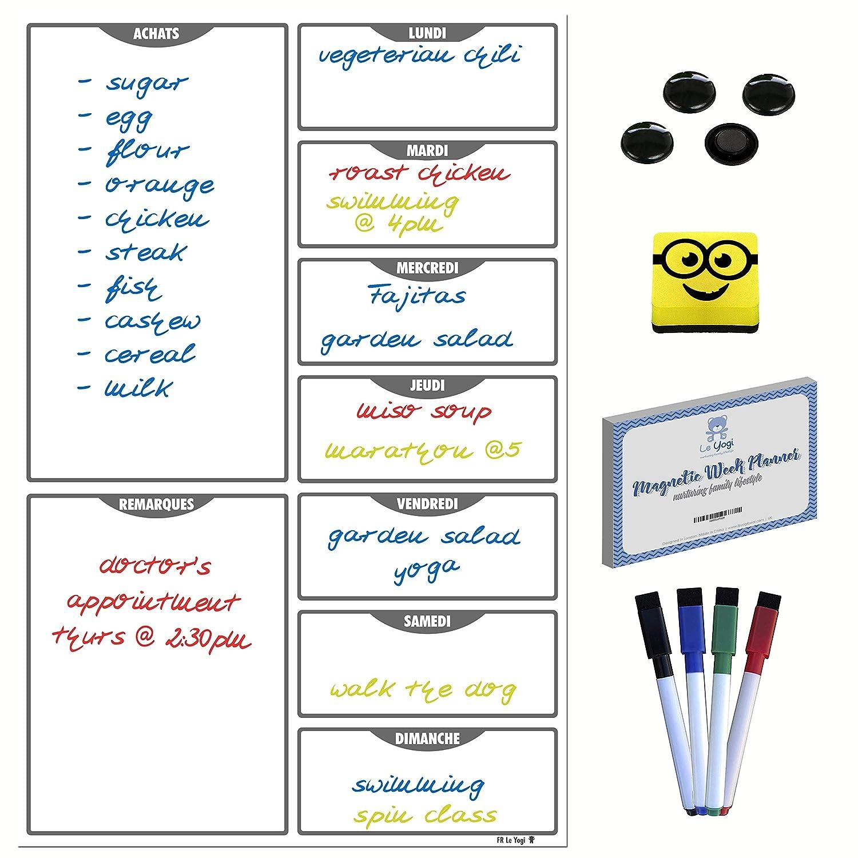 A3 lavagna magnetica da cucina per la pianificazione settimanale, cancellabile a secco, con 2 pennarelli, oltre 100 ricette video e 2 extra portapenne, Black/Blue/Clear, 43x27cm (A3) Le Yogi