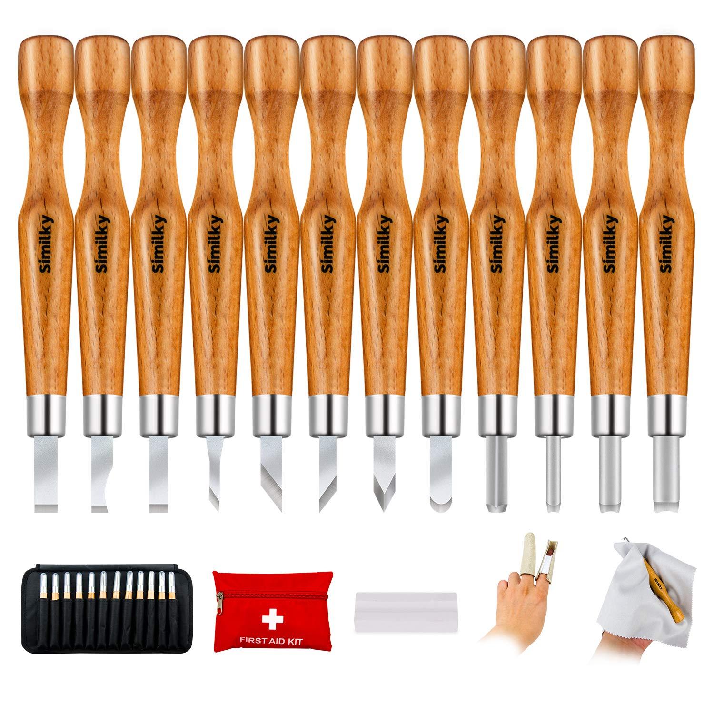 Acero de aleación de similk, manualidades, herramientas para tallar madera cincel con protector de dedo de piel, funda protectora y caso de almacenamiento CP-1