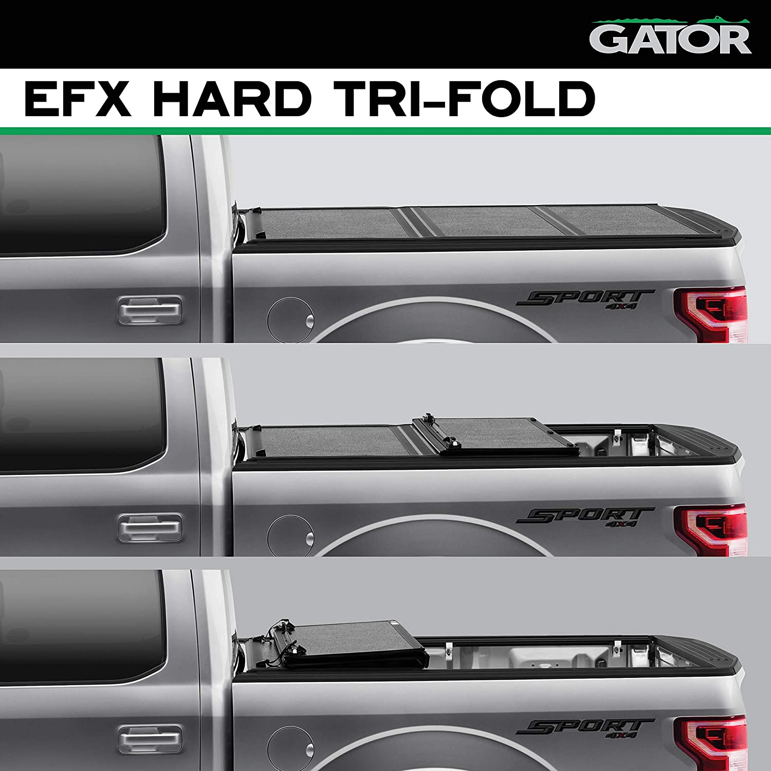 Amazon Com Gator Efx Hard Tri Fold Truck Bed Tonneau Cover Gc44014 Fits 2016 2020 Toyota Tacoma W Cargo Management System 5 Bed Made In The Usa Automotive
