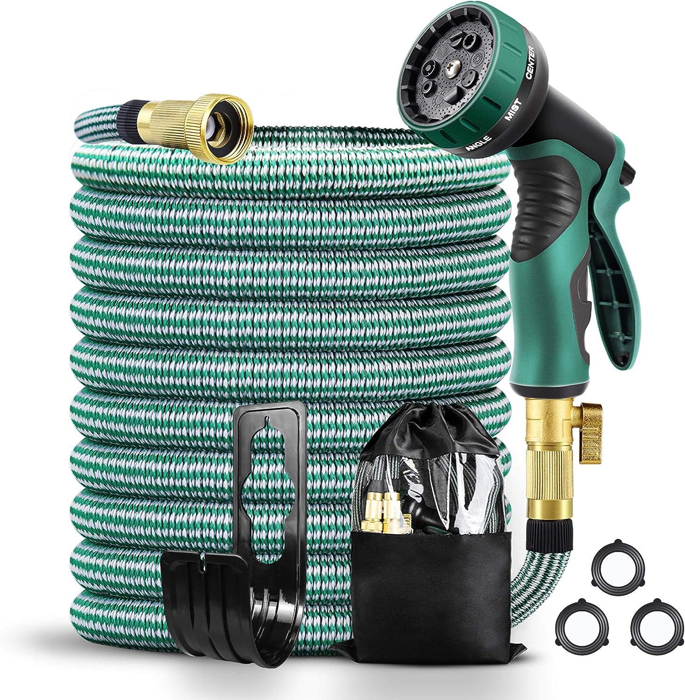 TUMIJY Expandable Garden Hose 25FT,3750D Fabric Wrap 4-Layers Latex Core Flexible garden Hose,3/4