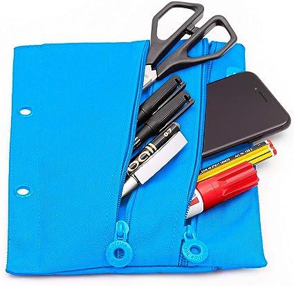 Colorline 52811 - Portatodo Plano Rectangular con 3 Cremalleras Especial para Carpetas de Anillas y Guardar Material Escolar y Accesorios, Color Azul Claro, Medidas 23 x 18 cm: Amazon.es: Oficina y papelería