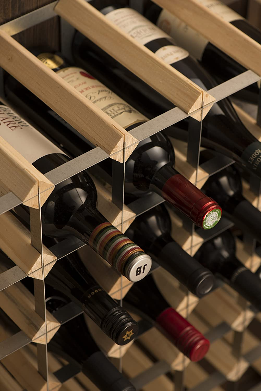 Galvanised Steel Natural Pine RTA 72-Bottle Ready-to-Assemble Wine Rack