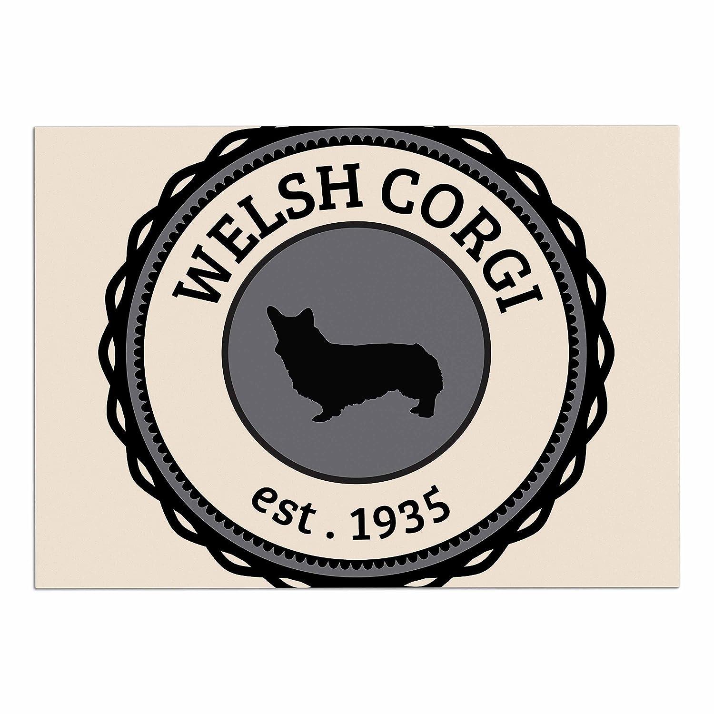 KESS InHouse KESS Original Welsh Corgi  Beige Dog Place Mat, 13  x 18
