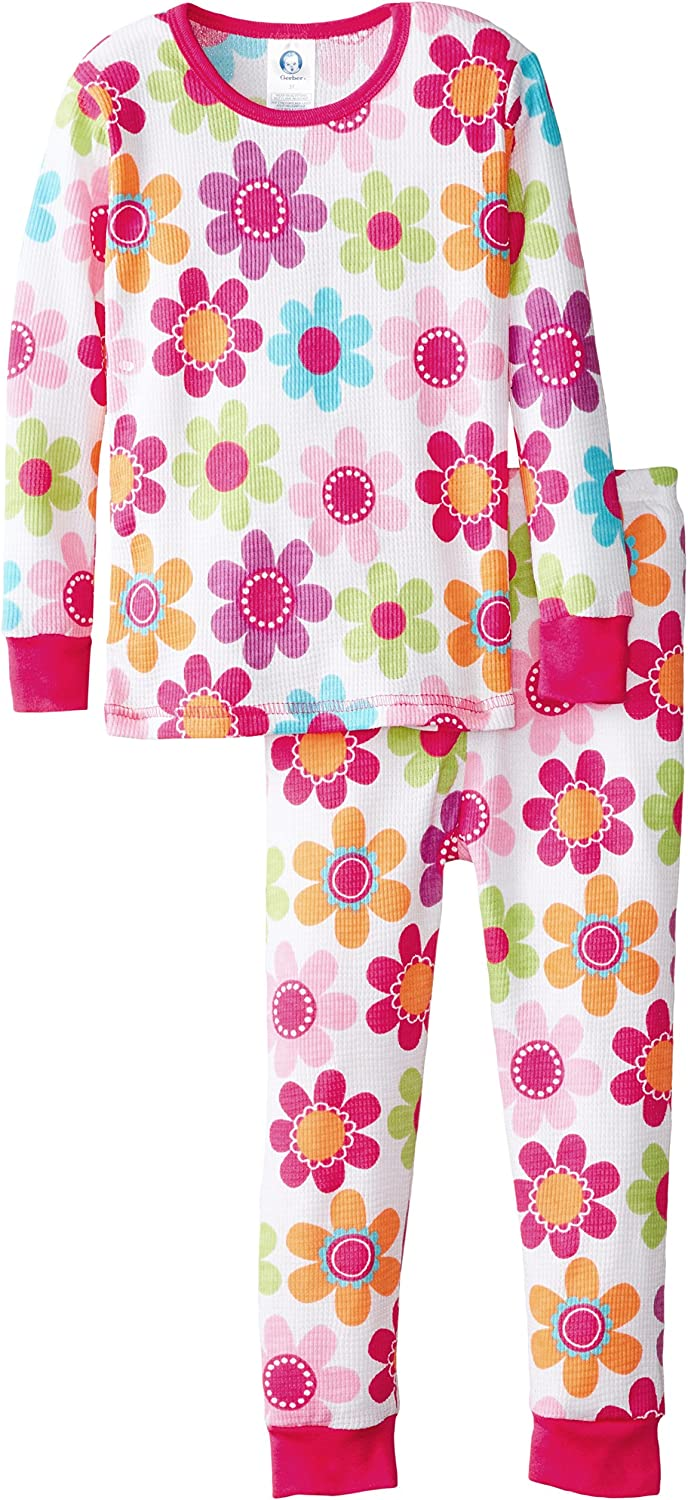 Gerber Baby and Little Girls 2 Piece Thermal Pajamas