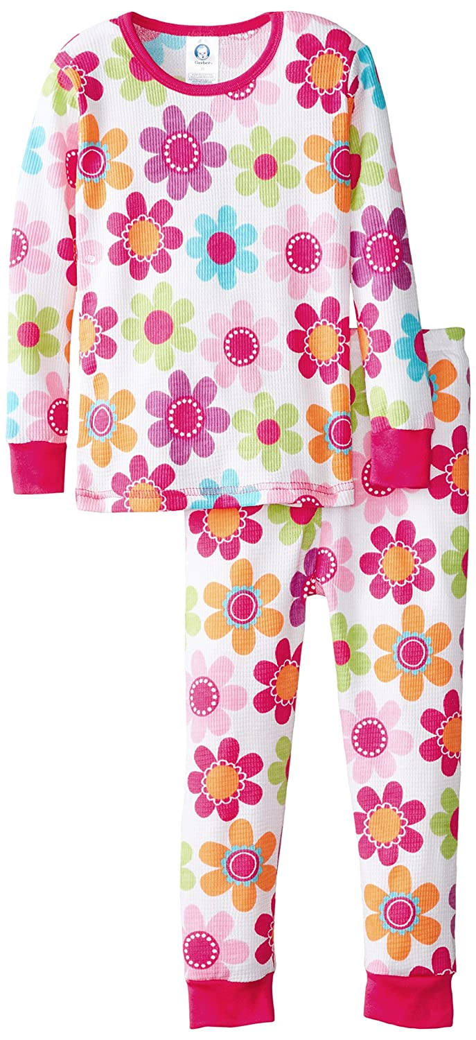 Gerber Baby and Little Girls' 2 Piece Thermal Pajamas Gerber Girls 2-6x 85963216A GR1