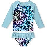 ALOOCA Little Girls Two Pieces Rash Guard Swimsuit Set Long Sleeve Print Bikini Bathing Suit UPF50+ Beach Swimwear 2-8T