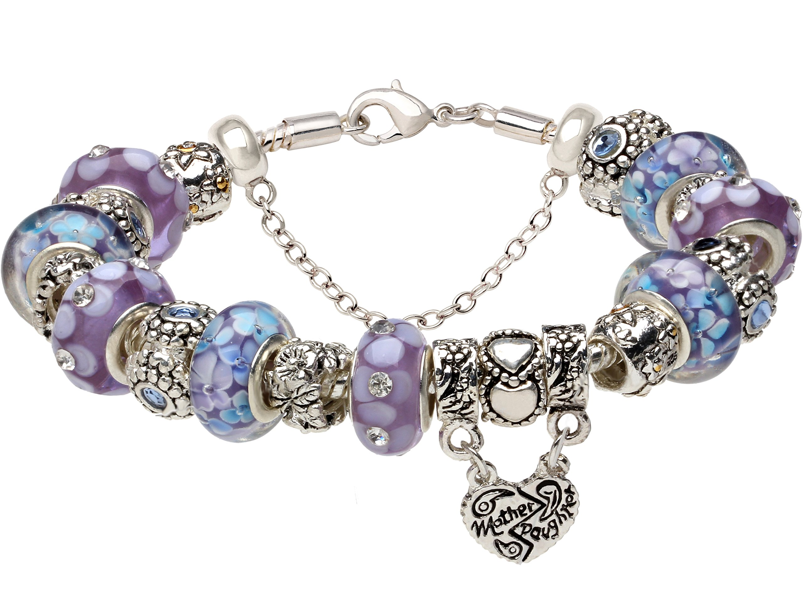"""(7.8inch/20cm)""""The Hearts Mother Daughter are Held Together Love Forever"""" Blue & Purple Glass Beads MOTHER DAUGHTER Charm Silver-Tone Bracelet Mom Mum"""