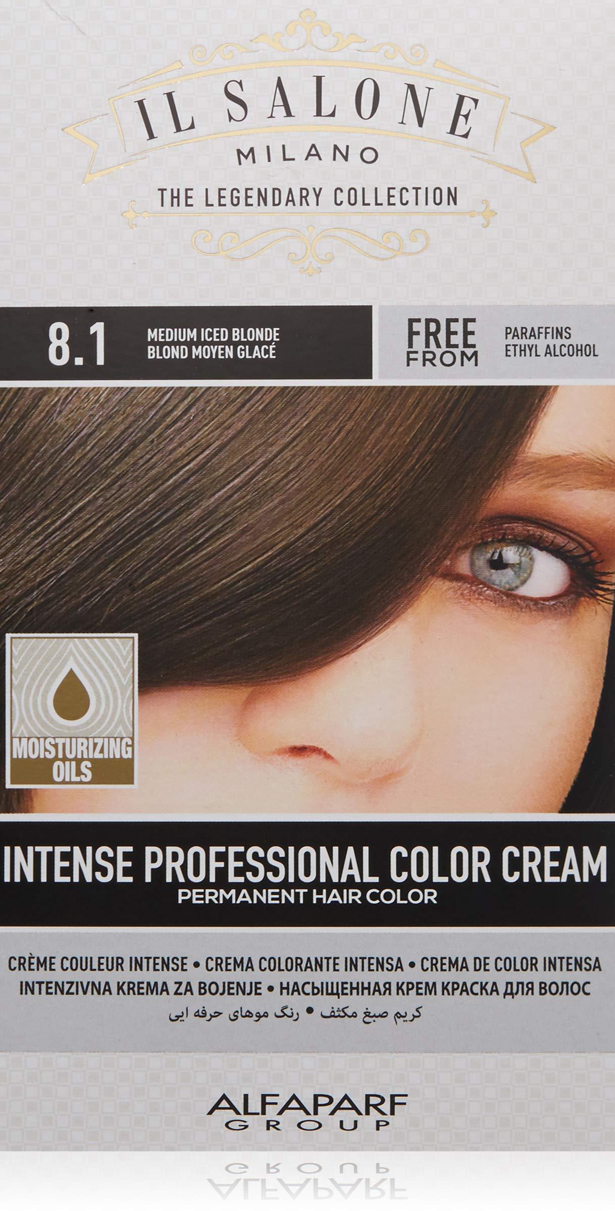 Il Salone Milano Permanent Hair Color Cream - 8.1 Medium Iced Blonde Hair Dye - Professional Salon - Premium Quality - 100% Gray Coverage - Paraben Free - Ethyl Alcohol Free - Moisturizing Oils