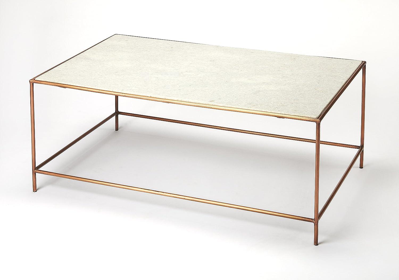Amazon Com Butler Copperfield White Marble Coffee Table Furniture Decor