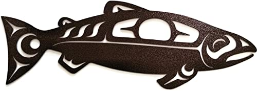 Castlelake Products Tribal Salmon Metal Wall Art 20 Inch, Copper