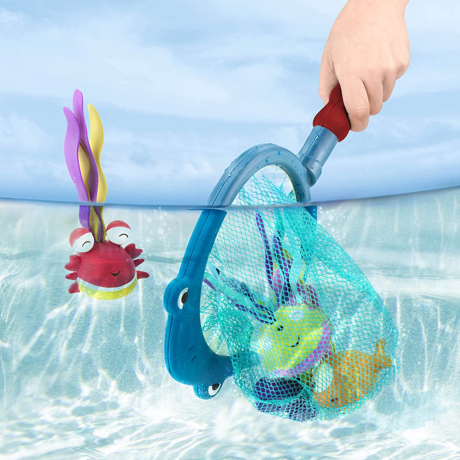 B 5-Pieces toys by Battat Shark Scoop-a-Diving Pool Toys-1 Shark Net and 4 Water Toys for Kids 3+