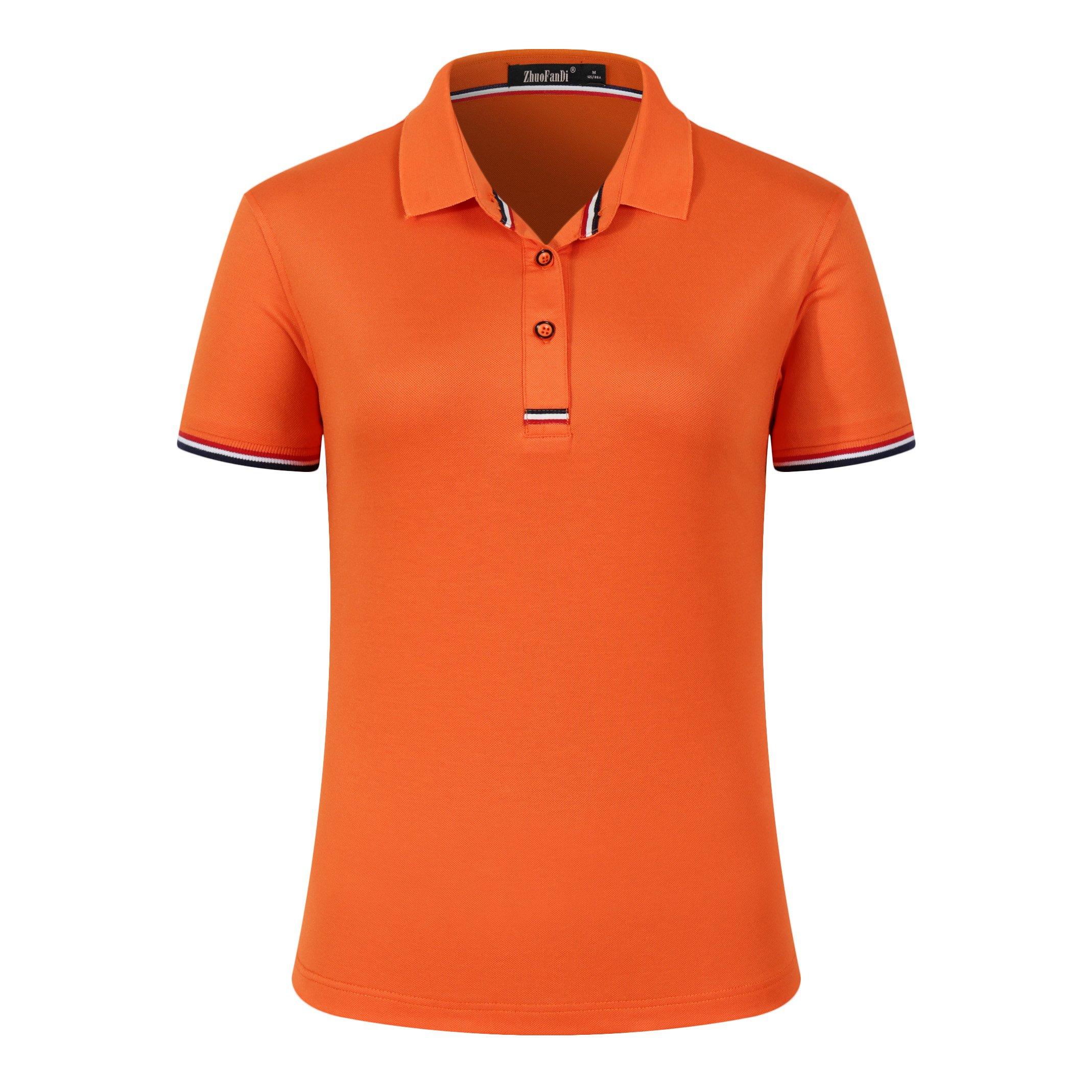 Mitario Femiego Women Classic Striped Collar Slim Fit Short Golf Polo Shirt Orange S