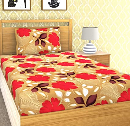 EMART Cotton, 120 TC, Single Bedsheet (220cm x 150cm) with One Pillow Cover (46cmx 68cm) Flower Print (Beige)