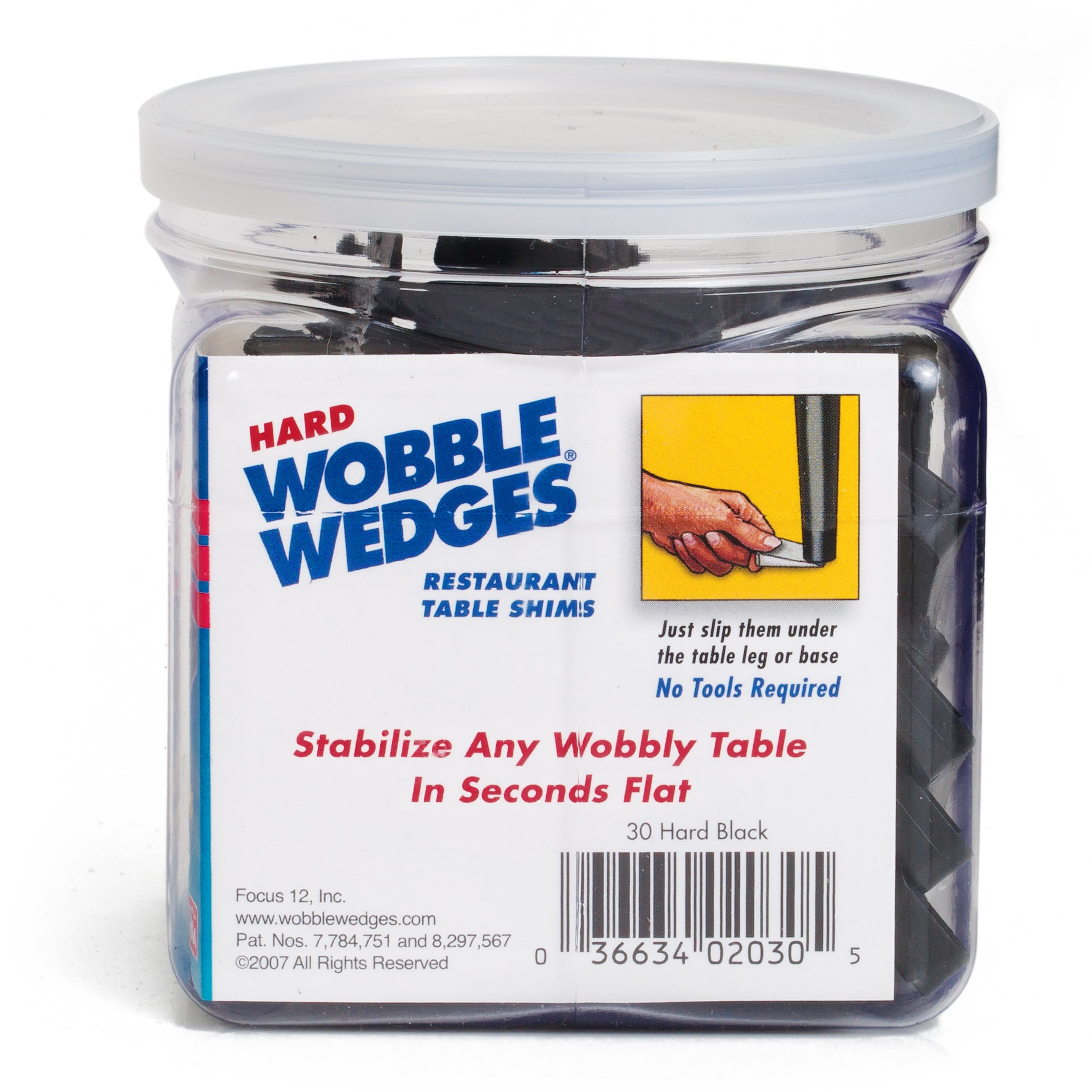 Wobble Wedge - Hard Black - Restaurant Table Shims - 30 Piece Jar by WOBBLE WEDGES (Image #2)
