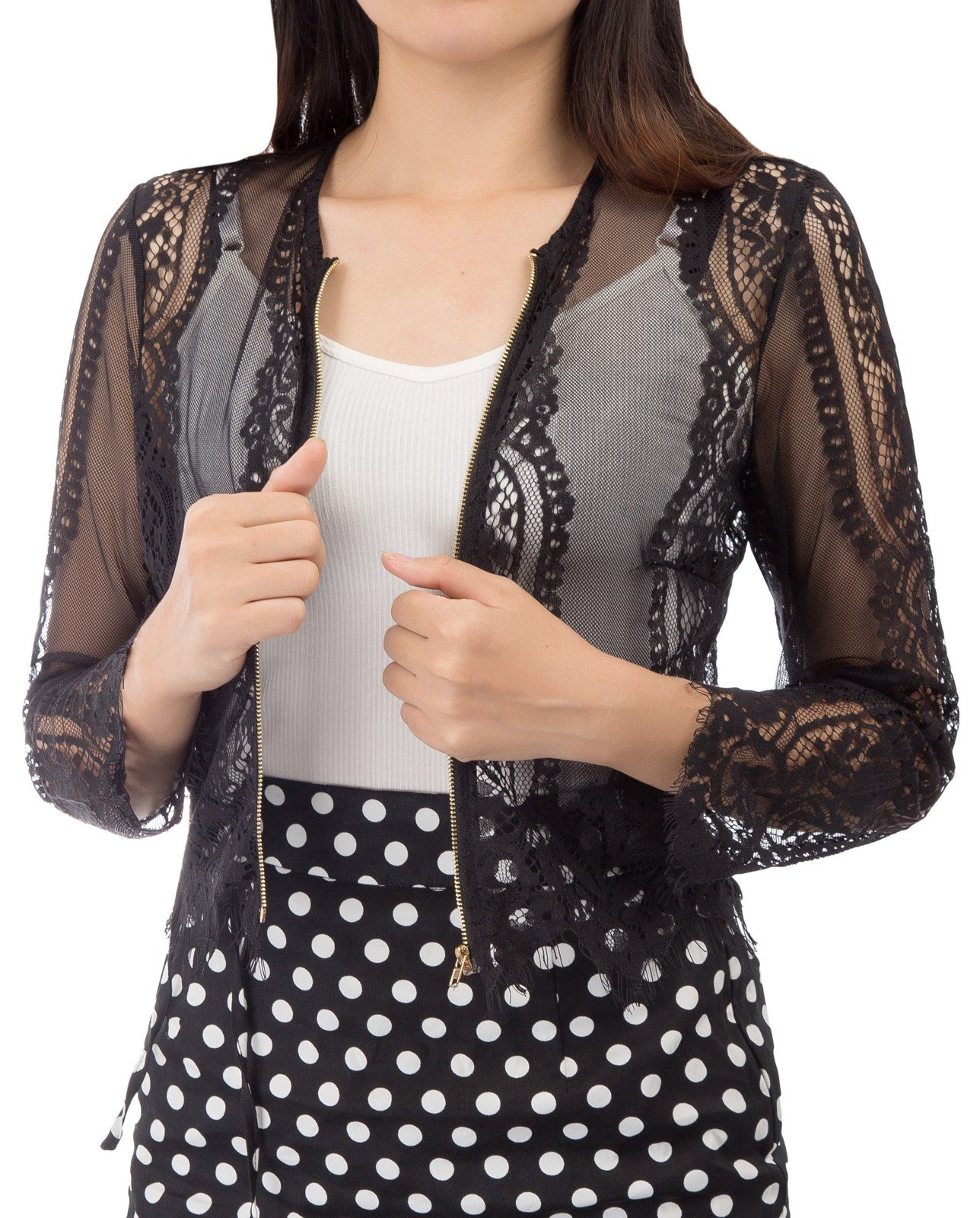 Womens Long Embroidered Lace Kimono Cardigan with Zipper (L,Black)