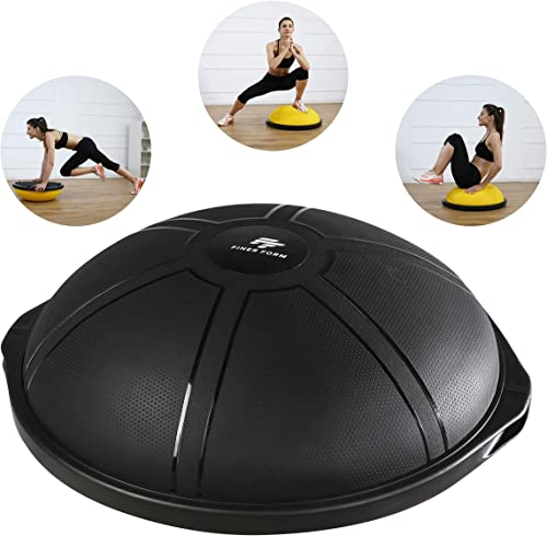 Finer Form Half Ball Balance Trainer for Home Gym Training, Yoga, Full-Body Workout – 25 64 cm