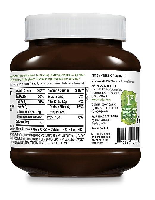 Nutiva - Avellana orgánica separada con obscuridad del cacao - 13 oz.: Amazon.es: Salud y cuidado personal
