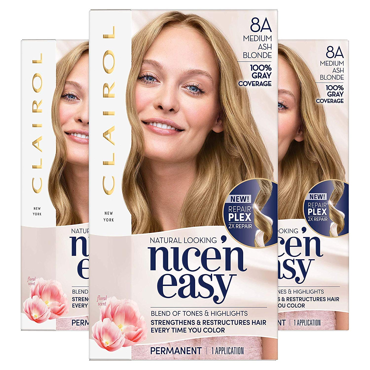 Clairol Nice'n Easy Permanent Hair Color, 8A Medium Ash Blonde, Pack of 3