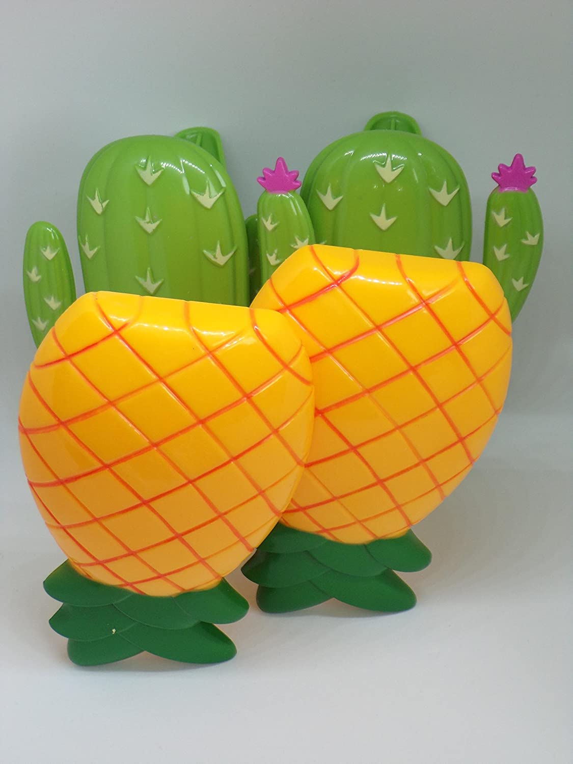 Beach Towel Clips Boca Style - 2 Pairs Pineapple and Cactus .
