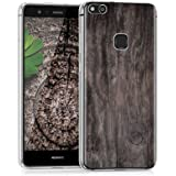 kwmobile Case for Huawei P10 Lite - TPU Silicone Crystal Clear Back Case Protective Cover IMD Design - Dark Brown