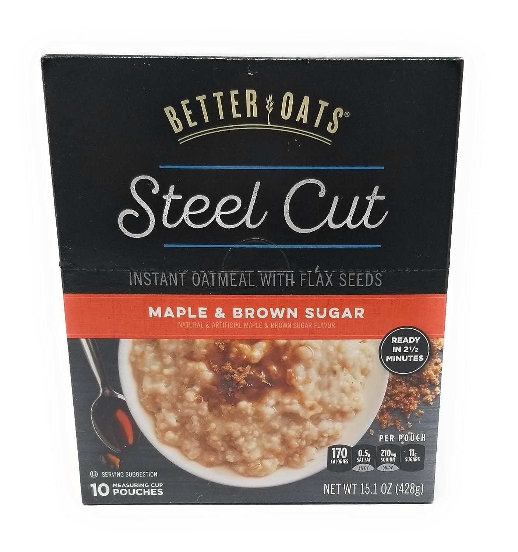 Better Oats Steel Cut MAPLE & BROWN SUGAR Instant Oatmeal 15.1oz (4 Pack)